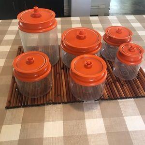 Vintage orange lid Tupperware canister set